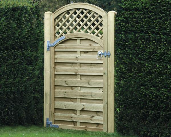 Arched Lattice Top Gate 1.80m x 0.90m Pressure Treated Green