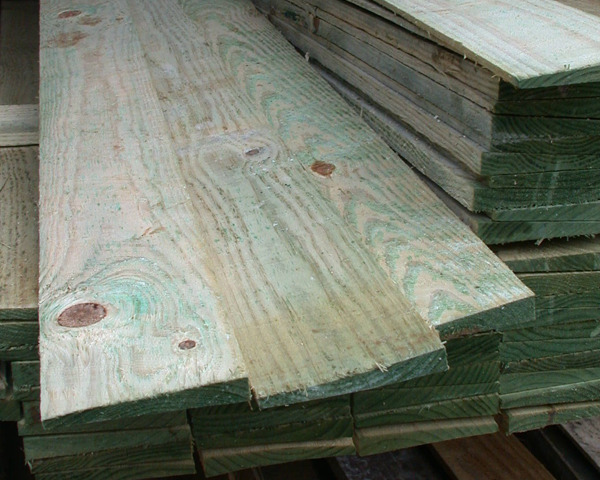 1.65m x 150mm Featheredge Board Pressure Treated Green