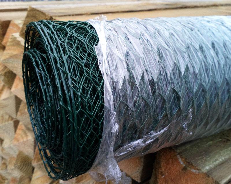 0.5m 13mm 10m Wire Netting PVC Green