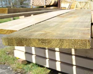 22mm x 225mm 3.6m Timber Board Pressure Treated Green