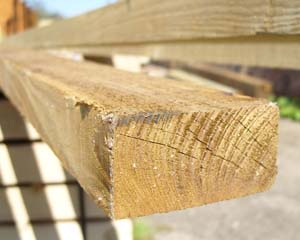 38mm x 75mm 3.6m Timber Rail Pressure Treated Green