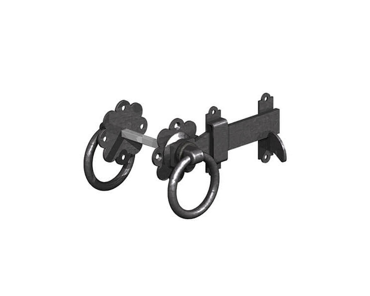 Ring Gate Latch Black 150mm P/P
